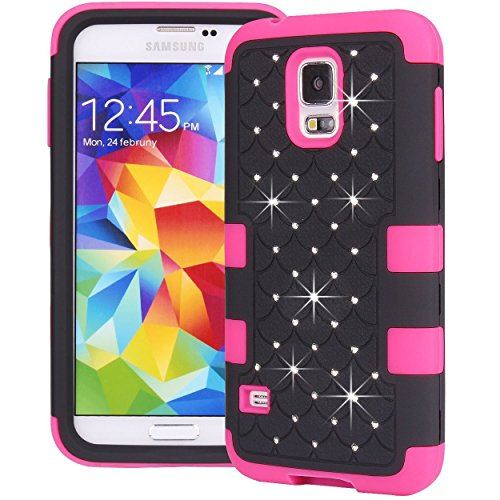 Pioneer Tech® 3 Layers Bling Crystals Hybrid Hard + Soft Case Cover Skin For Samsung Galaxy S5 I9600 (Pink&Black)