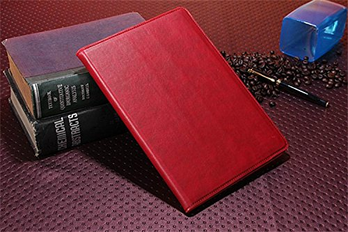 Borch Fashion Luxury Multi-Function Crazy Horse Leather Protective Light-Weight Folding Flip Smart Case Cover For Ipad Air (Red)