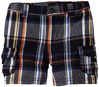 Hartstrings Baby-boys Infant Plaid Cargo Shorts, Navy Plaid, 18 Months