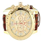 14k Rose Gold Finish XL Gear Style 55MM Iced Red Leather Band Aqua Master Watch