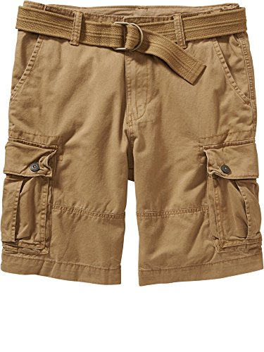"Old Navy Mens Belted Cargo Shorts 10 1/2"" 29W-Bandolier brown"