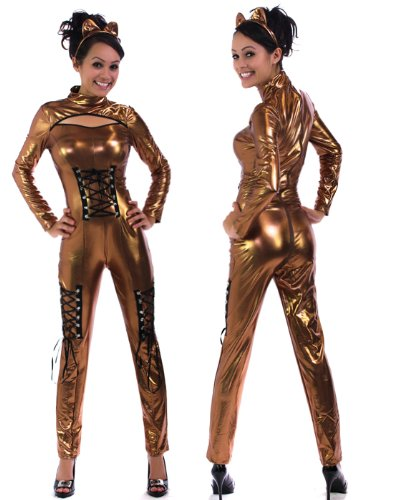 Bronze Fetish Metallic Bodysuit Catsuit Costume,Ears