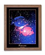 Pisces Fish Zodiac Sign Astrology Home Decor Wall Picture Oak Framed Art Print