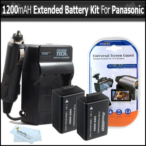 2 Pack Battery And Charger Kit for Panasonic Lumix DMC-FZ100 DMC-FZ40 DMC-FZ47 DMC-FZ150 Digital Camera Includes 2 Extended Replacement DMW-BMB9 Rechargeable Lithium-Ion Battery (1200Mah) (with Info-Chip!) + AC/DC Travel Charger + Screen Protectors + More