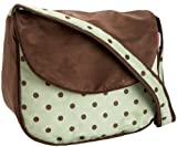 Hoohobbers Dots Green Messenger Diaper Bag,Green/ Brown,one size