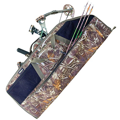 buy Elkton Outdoors Grassland Camo Rugged Portable Soft Bow and Arrow Case Carry Bag with 4 Storage Pockets-Fits Both Compound & Recurve Bows: Perfect for Hunting & Archery! for sale