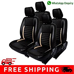 Autofact Brand PU Leatherite Car Seat Covers for Maruti Car 800 Old Model in Black and Beige Strip