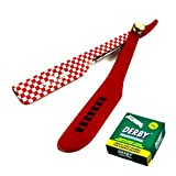 Professional Barber Razor Knife Zeepk-102 Stainless Straight Edge 100 Derby Blade Replacement withTension Screw (Color: Red)