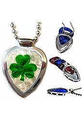 Guitar pick holder pendant PICKBAY Stainless Steel w Celtic Luck O' the Irish Guitar PICK set