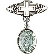 Sterling Silver Baby Badge with Blue St. Christopher Charm and Badge Pin with Cross 1 X 3/4 inches