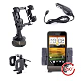 Shakeproof Car Air Vent Stand with Premium Car Charger & Dash Disc For HTC One Mini 2, HTC Desire 210, Desire 300, One VX, HTC One V, HTC One S, HTC DESIRE Z & 8S Mobile