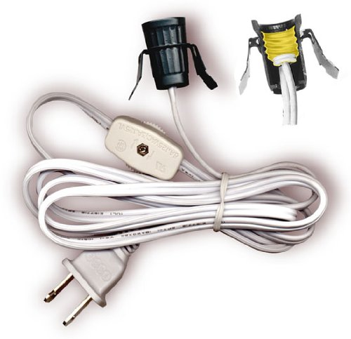 Lamp Cord Has Clip-In Candelabra Socket, Rotary Switch And Molded End Plug. 6 Ft. White