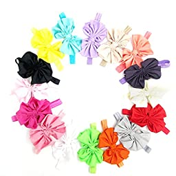 Ecoolbuy Satin Headband Hair Bow Band for Girls Baby Children, 16-Pack