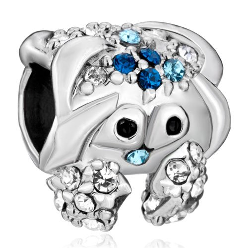 Pugster Blue Swarovski Crystal Cute Crab Beads Fit Pandora Charm Jewelry