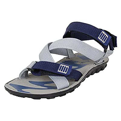 Earton Men's Grey & Blue Sandals & Floaters