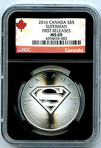 2016 CANADA 1 OZ SILVER SUPERMAN S SHIELD RARE FIRST RELEASES BLACK RETRO HOLDER WITH RED CANADA LABEL TOP POPULATION $5 MS69 NGC