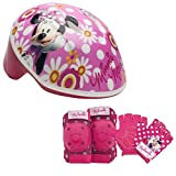 Disney Girls Minnie Mouse Toddler Skate / Bike Helmet Pads & Gloves - 7 Piece Set