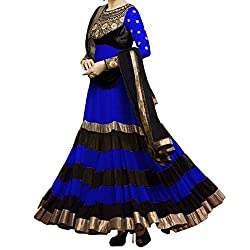 Awesome Fab Blue & Black Georgette Semi-Stiched Embroidered Anarkali