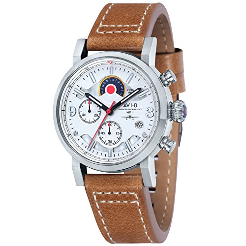 Avi-8 Hawker Hurricane Chronograph Men's Quartz Watch with White Dial Analogue Display and Brown Leather Strap AV-4041-01
