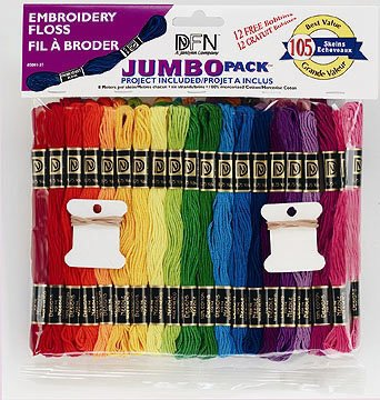 JUMBO Thread Pack of 105 Assorted Embroidery Silks Skein Floss 100% Cotton from Janlynn