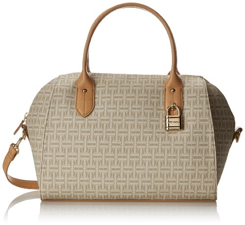 Tommy Hilfiger TH Heritage Bowler Coated Logo Top Handle Bag,Biscuit/Tonal,One Size