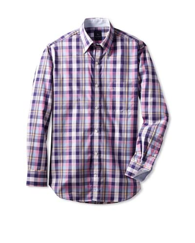 Tailorbyrd Men's Check Woven Shirt  [Blue/Pink]