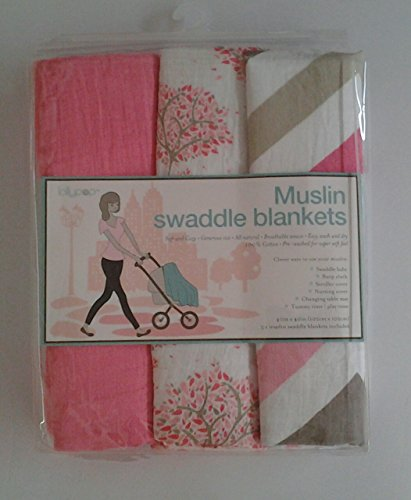 Lollypop Muslin Swaddle Blankets -Pink (Solid Pink/Pink, White and Tan Contemporary Patterns