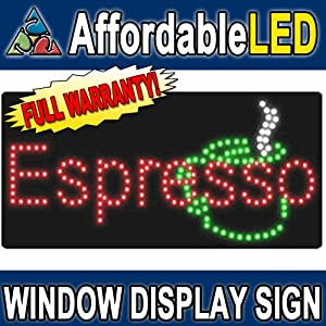 "Espresso LED Window Display Sign (Size 12""H X 24""L X 1""D)"
