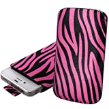Shop4 Hot Pink / Black Zebra Print Textured Pouch Cover Case with Pull Tab For Samsung Ch@t Chat 357 S3570 Mobile Phone