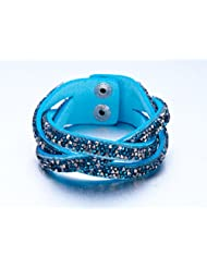 Blue Cross Layer Korean Velvet With Resin Crystals Bracelet For Women By NEVI