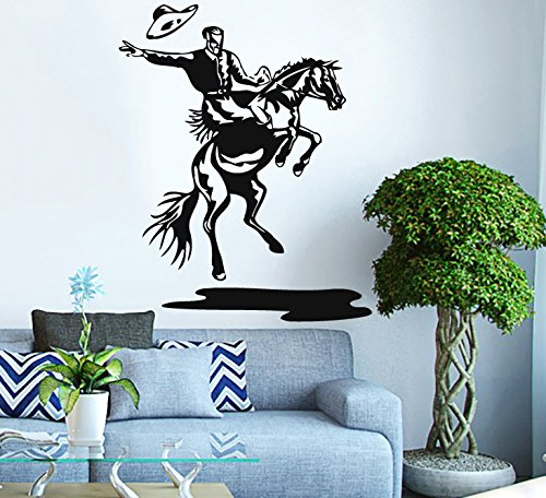 Wall Vinyl Sticker Decal Rodeo Cowboy On A Bull Nursery Room Nice Picture Decor Mural Hall Wall Ki593 front-1057857