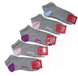 Lot 5 paire chaussette invisibles Socquette Femme 37 à 40 (Gris)