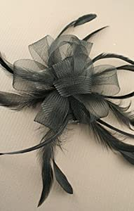 Black net & feather bow fascinator set on ribbon bound clear comb. Ideal for wedding, ladies day or any other special occasion.