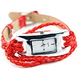 Women's Bracelet Charm Quartz Knit Strap Wrist Watch Red