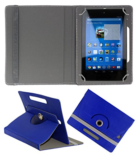 ACM ROTATING 360° LEATHER FLIP CASE FOR DELL VENUE 7 3740 TABLET STAND COVER HOLDER DARK BLUE  available at amazon for Rs.149