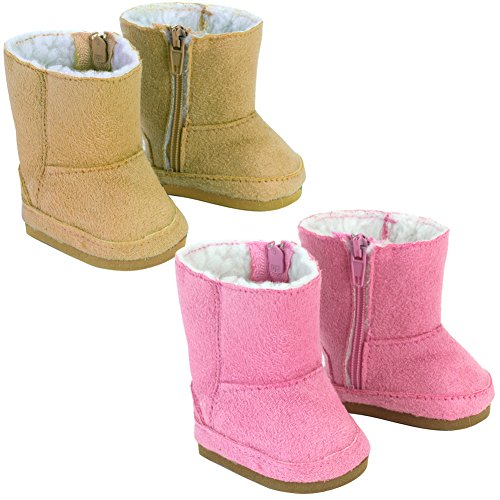 18 Inch Doll Boots 2 Pair Set, Our Faux Suede Ewe Boots Will Fit American Girl Dolls & More! Doll Shoe Set of 1 Pair Pink, 1 Pair Tan