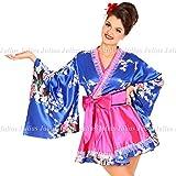 綺麗なお色でCuteなお姫様みたいな花魁系着物ドレスワンピース/青xピンク系/pc510