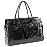 MAKYA Oversize Black Faux Crocodile Pattern Weekend Getaway Tote Double Handle Shopper Hobo Handbag Satchel Shoulder Bag