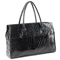 Hot Sale MG Collection MAKYA Oversize Black Faux Crocodile Weekender Tote Shoulder Bag
