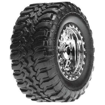 Desert Tire Set Mounted, Chrome (4): Micro DT - 1