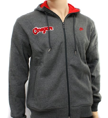 Nike Oregon Dark Grey Mens Hooded Zip Sweatshirt Hoody Size XL