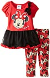 Disney Baby Girls' 2 Piece Minnie Dress and Printed Legging, Red, 12 Months