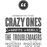 """Steve Jobs Poster """"Here's to the Crazy Ones"""" Quote. 12""""x36"""" Motivational and Inspirational Wall Decor Poster Print. Apple Think Different Poster."""