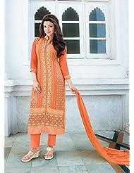 Fabfiza Orange Georgette Embroidered Semi-Stitched Straight Suit