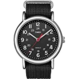 Timex Unisex T2N647 Weekender Black Nylon Slip-Thru Strap Watch