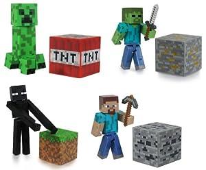 Minecraft Steve?, Zombie, Creeper, & Enderman Set of 4 Figures