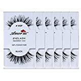 4 SETS-Amorus 100% Human Hair False Eyelashes #wsp (6 Pack) (Color: 4 Sets-24pcs)