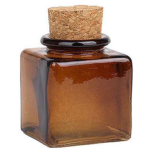 Amber Square Recycled Glass Jar with Cork Top-3oz. (Recycled Glass Jars compare prices)