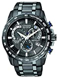 Citizen Men's Eco-Drive Chronograph Watch AT4007-54E with a Black Dial and a Black Stainless Steel Bracelet