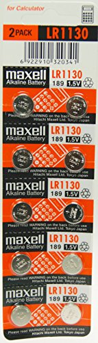 Strip of 10 Fresh Maxell LR1130 (189) 1.5v Alkaline Batteries (189 Watch Battery compare prices)